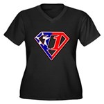 BSSMflag Women's Plus Size V-Neck Dark T-Shirt