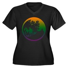 Fairy Realm Women's Plus Size V-Neck Dark T-Shirt