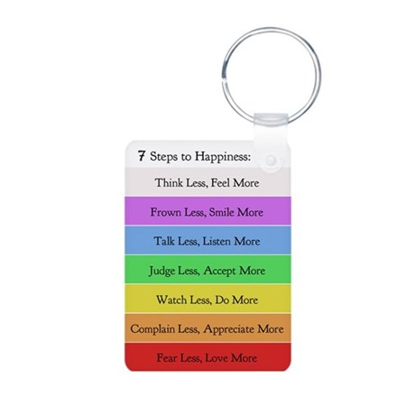 7 Steps to Happiness Aluminum Keychain