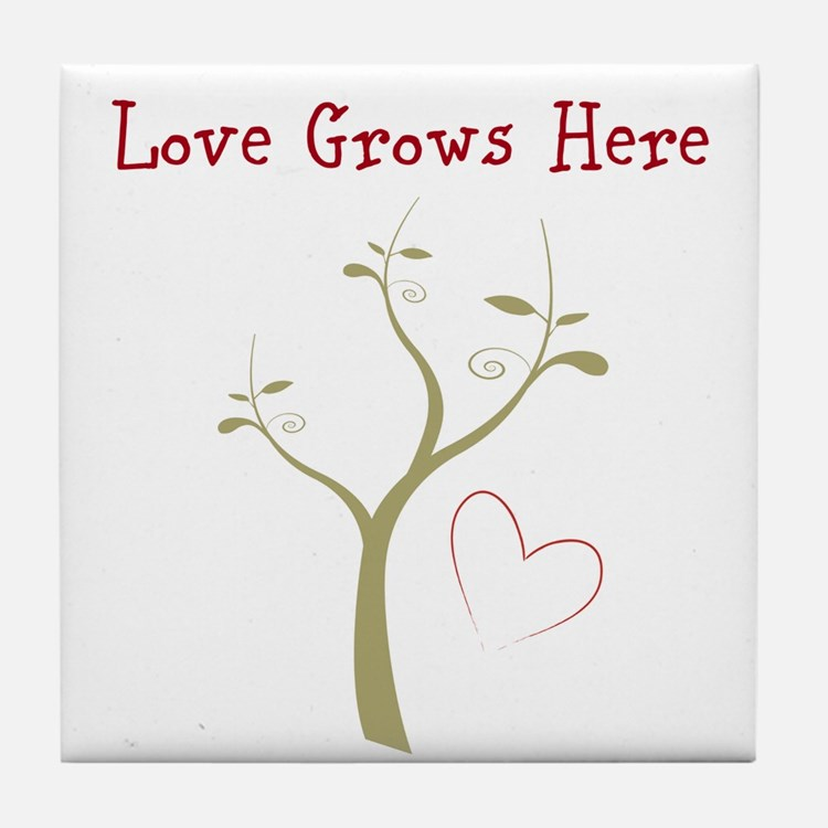 Love Grows Here Designs Tile Coaster