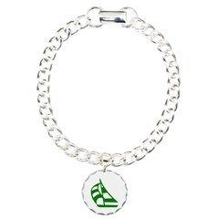 Green Sailboat Charm Bracelet, One Charm