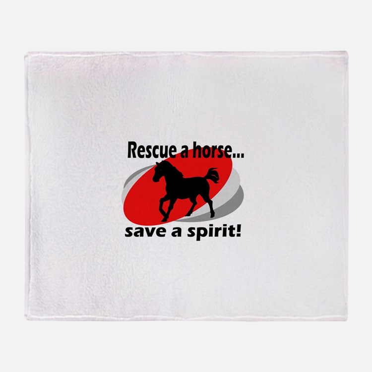 Rescue a Horse, Save a Spirit Throw Blanket