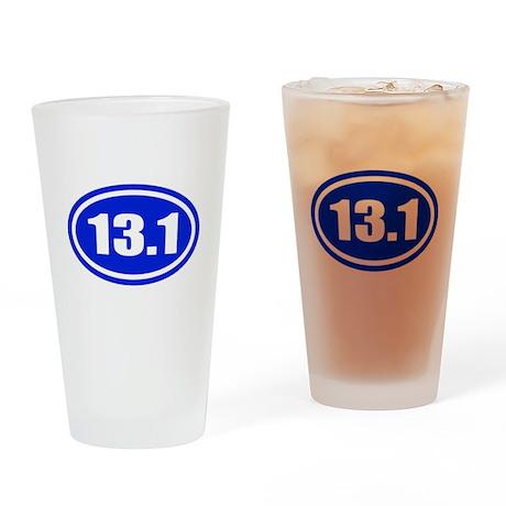 Blue 13.1 Half Marathon Drinking Glass