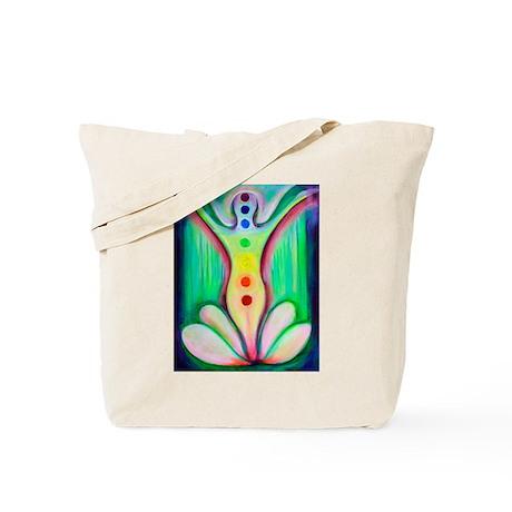 Lotus Chakras Watercolor Tote Bag