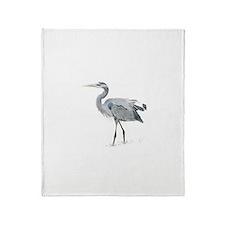Cute Blue heron Throw Blanket