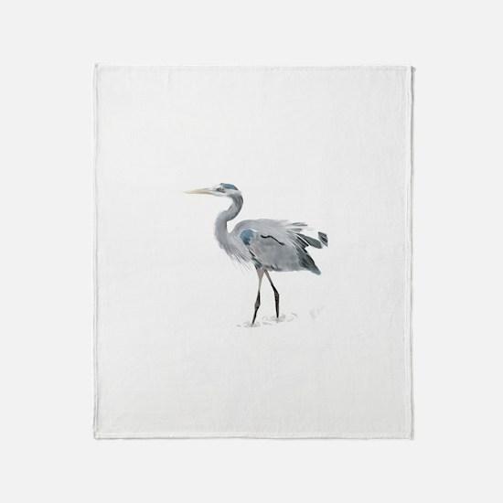 Cute Great blue heron Throw Blanket