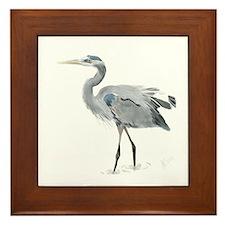 Cute Great blue heron Framed Tile