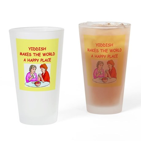 yiddish Drinking Glass