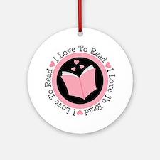I Love To Read Books Ornament (Round)