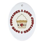 I Love Cupcakes Ornament (Oval)