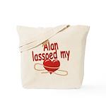 Alan Lassoed My Heart Tote Bag