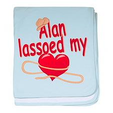 Alan Lassoed My Heart baby blanket