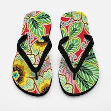 Glamour Floral Green Flip Flops