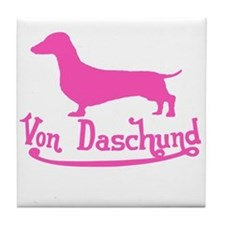 Von Daschund Pink Tile Coaster