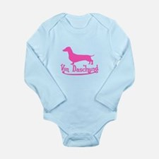 Von Daschund Pink Long Sleeve Infant Bodysuit