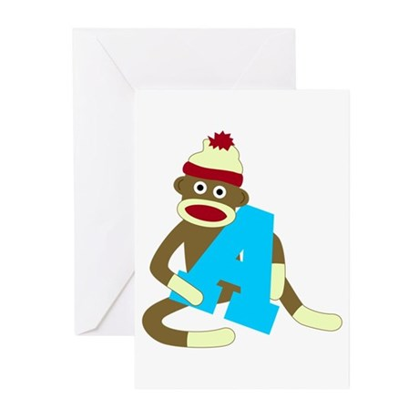 Sock Monkey Monogram Boy A Greeting Cards Pk of 10