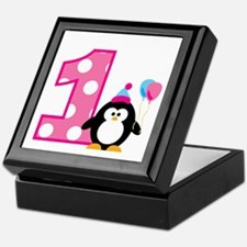Girl Penguin 1st Birthday Keepsake Box