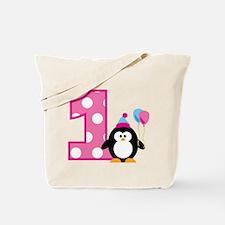 Girl Penguin 1st Birthday Tote Bag