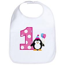 Girl Penguin 1st Birthday Bib
