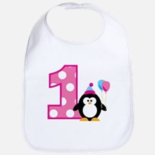 Girl Penguin 1st Birthday Bib