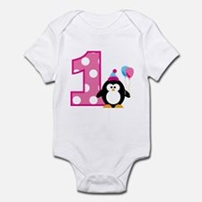 Girl Penguin 1st Birthday Infant Bodysuit