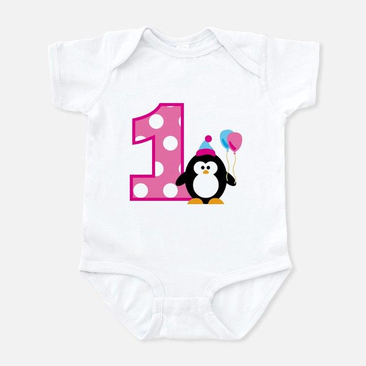 Girl Penguin 1st Birthday Infant Bodysuit