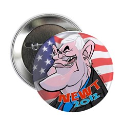 """100 Newt Gingrich Caricature Cart 2.25"""" Butto"""