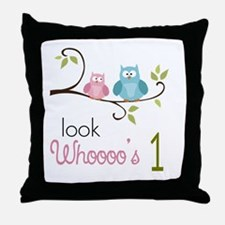 Custom Owl Birthday Throw Pillow