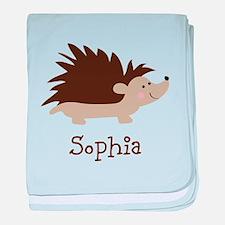 Custom Name Hedgehog baby blanket