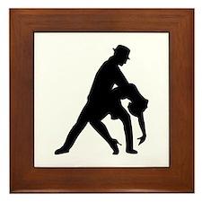 Dancing couple tango Framed Tile