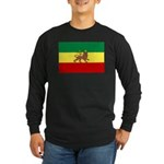 Lion of Judah Ethopian Flag Long Sleeve Dark T-Shi