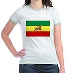 Lion of Judah Ethopian Flag Jr. Ringer T-Shirt