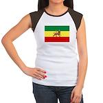 Lion of Judah Ethopian Flag Women's Cap Sleeve T-S