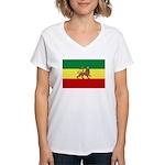 Lion of Judah Ethopian Flag Women's V-Neck T-Shirt