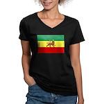 Lion of Judah Ethopian Flag Women's V-Neck Dark T-