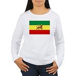 Lion of Judah Ethopian Flag Women's Long Sleeve T-