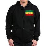 Lion of Judah Ethopian Flag Zip Hoodie (dark)