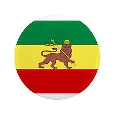 """Lion of Judah Ethopian Flag 3.5"""" Button"""