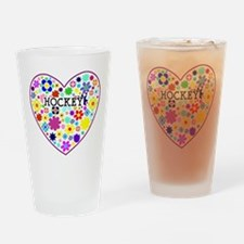 Hockey Heart Flowers Drinking Glass