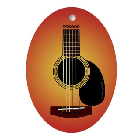 acoustic guitar cherry sunburst Ornament (Oval)
