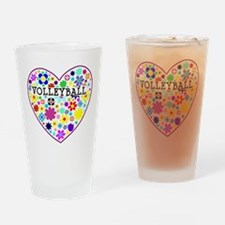 Volleyball Heart Flowers Drinking Glass
