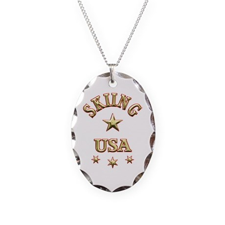 Skiing USA Necklace Oval Charm