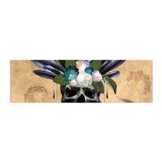 Amazing skull with feathers and flowers Wall Decal