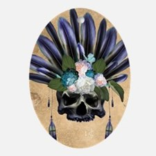 Amazing skull with feathers and flowers Oval Ornam