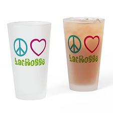 Peace Love Lacrosse Drinking Glass