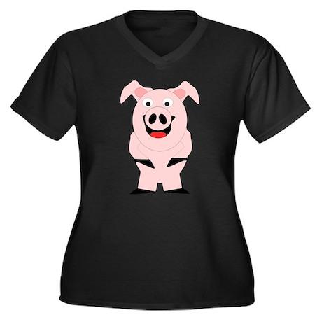 Pig Design Women's Plus Size V-Neck Dark T-Shirt