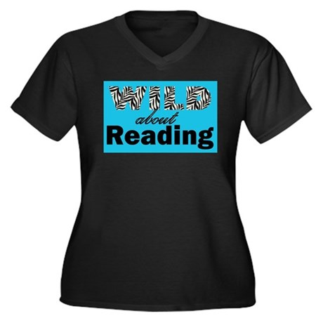 Wild About Reading Women's Plus Size V-Neck Dark T