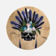 Amazing skull with feathers and flowers Round Orna