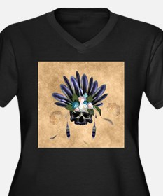 Amazing skull with feathers and flowers Plus Size