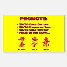 Promote 50/50 Oriental Red Rectangle Decal